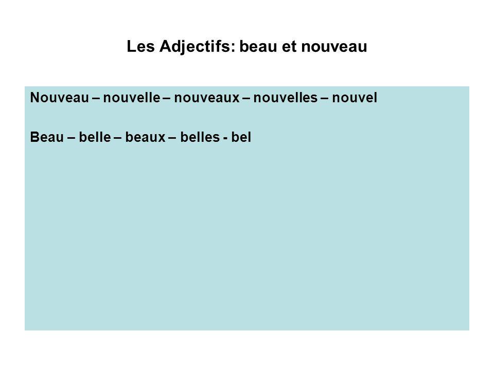 Les Adjectifs: beau et nouveau