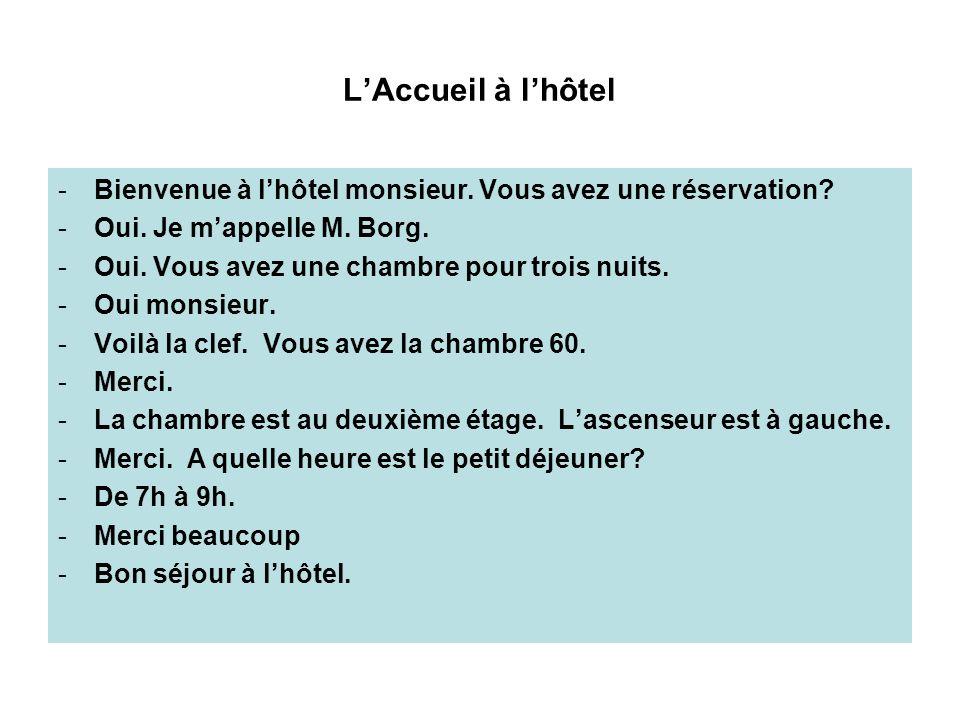 L'Accueil à l'hôtel Bienvenue à l'hôtel monsieur. Vous avez une réservation Oui. Je m'appelle M. Borg.