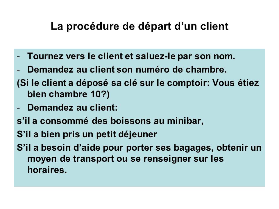La procédure de départ d'un client
