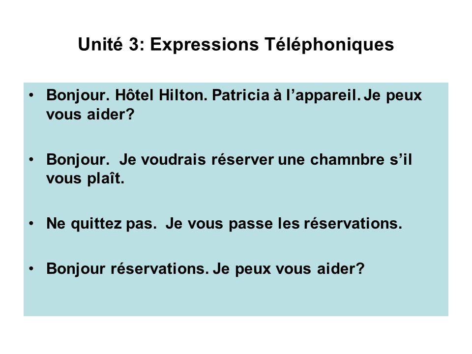 Unité 3: Expressions Téléphoniques