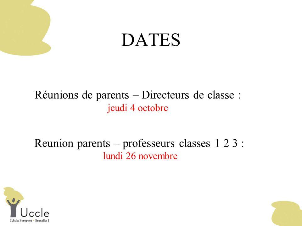 DATES Réunions de parents – Directeurs de classe :