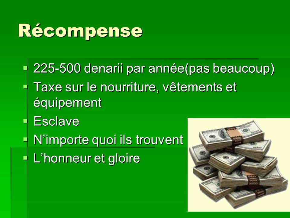 Récompense 225-500 denarii par année(pas beaucoup)