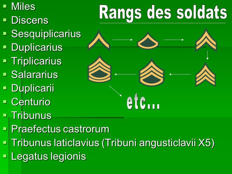 Rangs des soldats etc... Miles Discens Sesquiplicarius Duplicarius