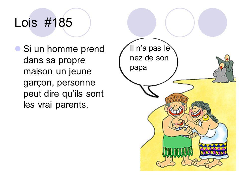 Lois #185 Si un homme prend dans sa propre maison un jeune garçon, personne peut dire qu'ils sont les vrai parents.