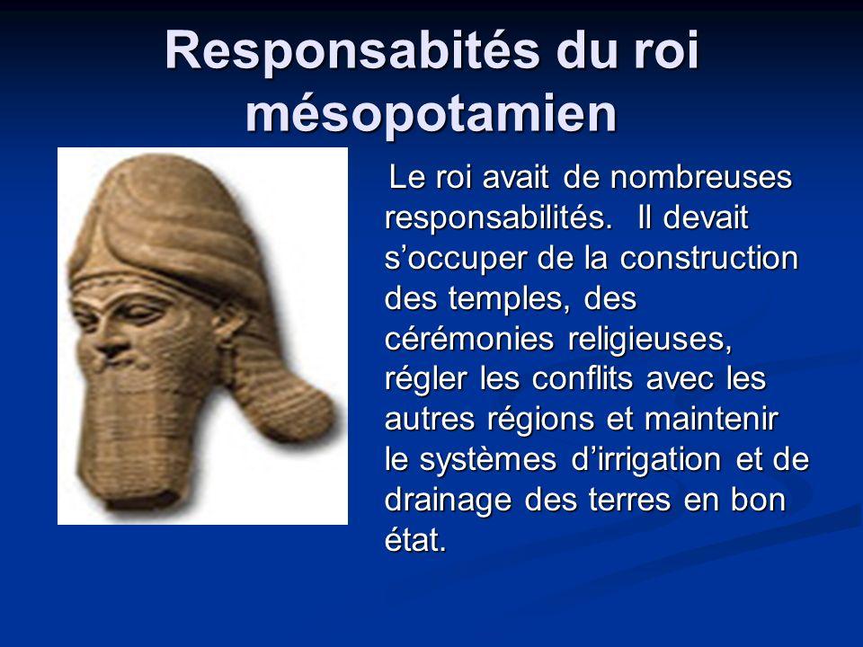 Responsabités du roi mésopotamien