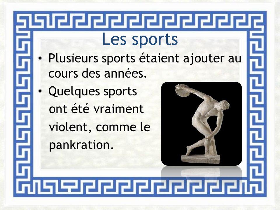 Les sports Plusieurs sports étaient ajouter au cours des années.