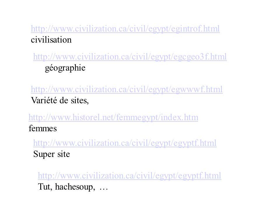 http://www.civilization.ca/civil/egypt/egintrof.html civilisation. http://www.civilization.ca/civil/egypt/egcgeo3f.html.