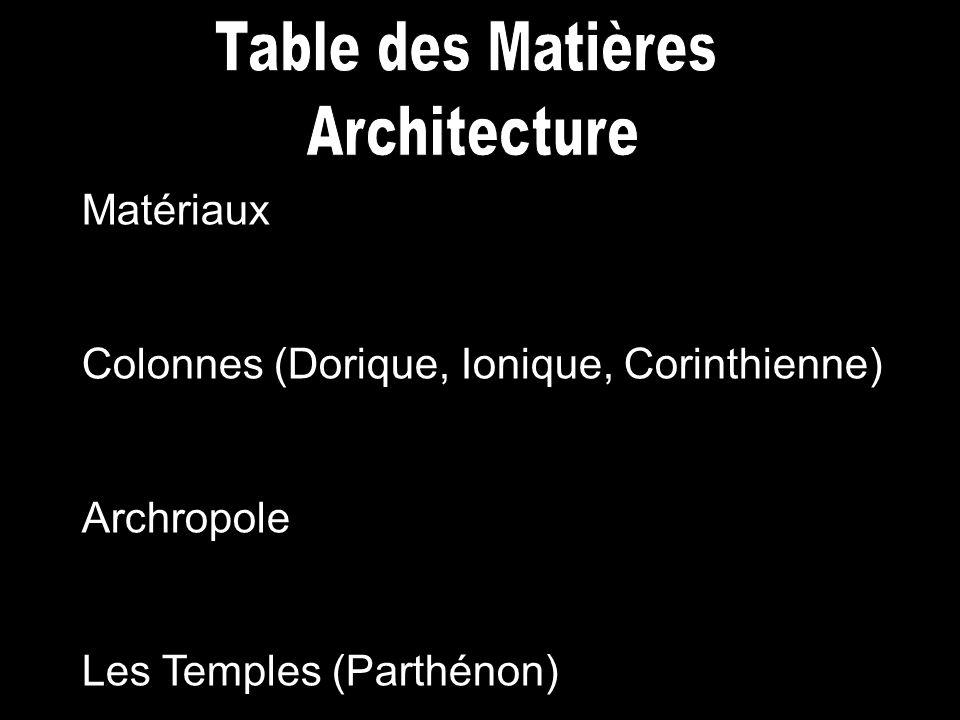 Table des Matières Architecture Matériaux