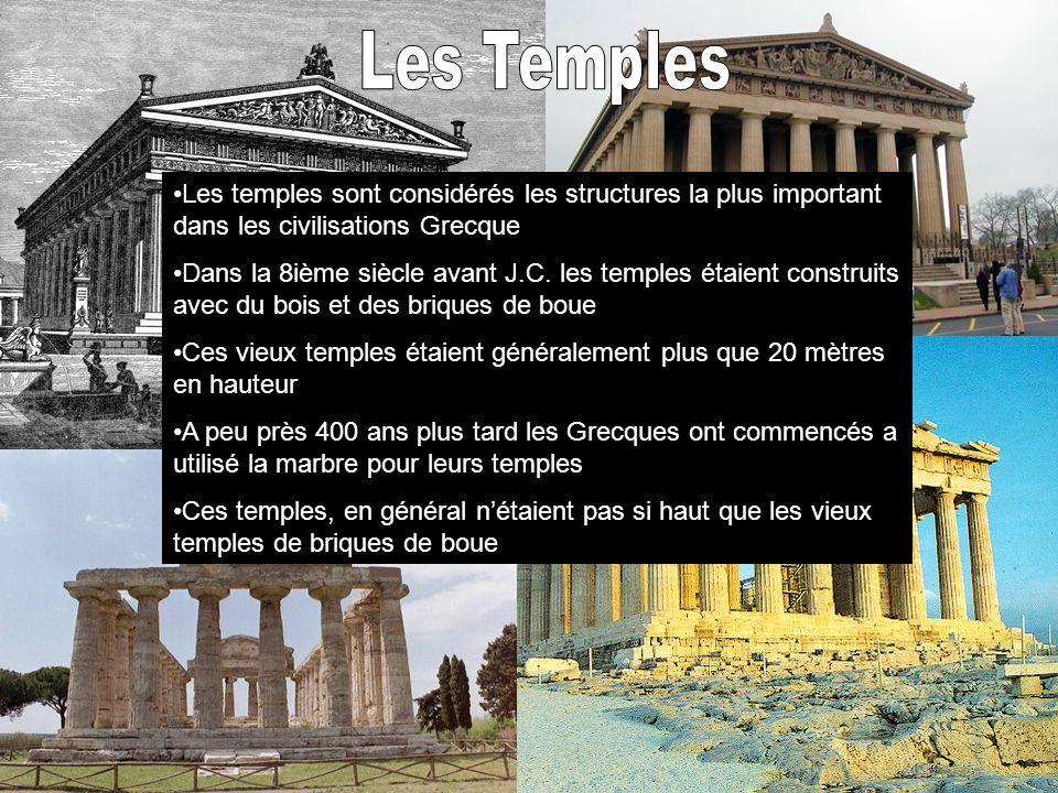 Les Temples Les temples sont considérés les structures la plus important dans les civilisations Grecque.