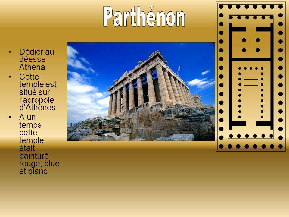 Parthénon Dédier au déesse Athéna