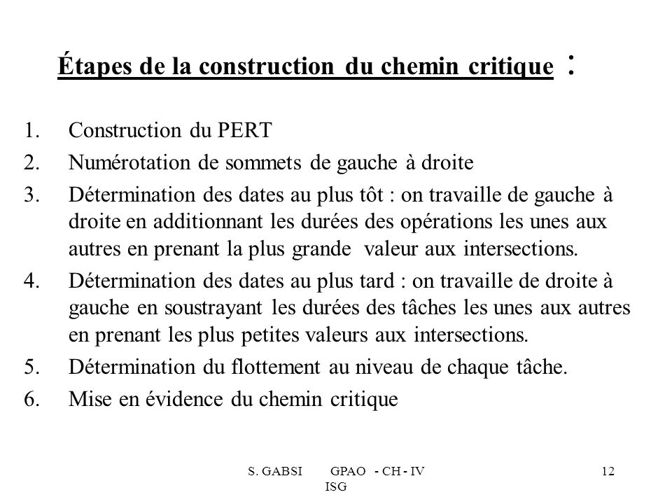 Étapes de la construction du chemin critique :