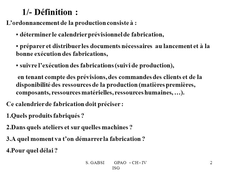 1/- Définition : L'ordonnancement de la production consiste à :