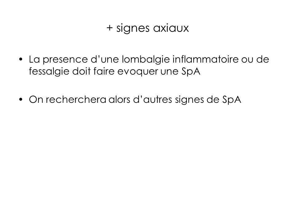 + signes axiaux La presence d'une lombalgie inflammatoire ou de fessalgie doit faire evoquer une SpA.