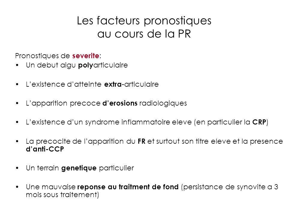 Les facteurs pronostiques au cours de la PR