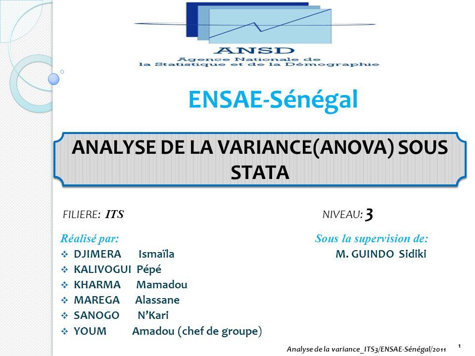 ANALYSE DE LA VARIANCE(ANOVA) SOUS STATA