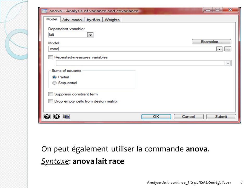 On peut également utiliser la commande anova. Syntaxe: anova lait race