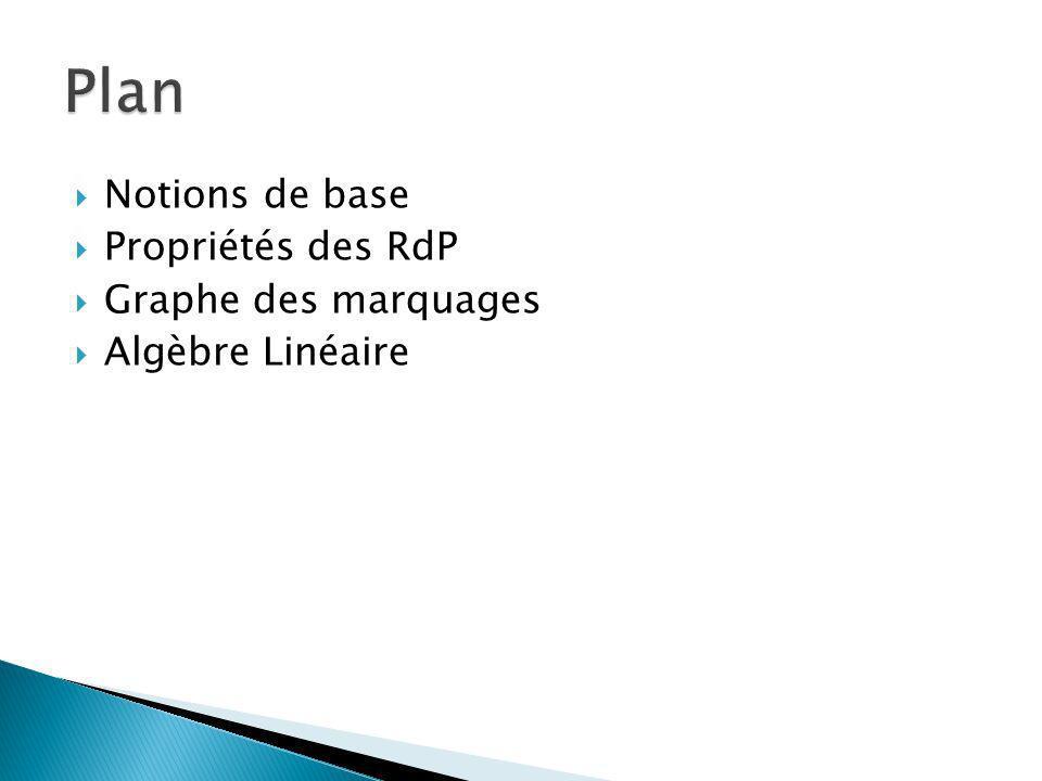 Plan Notions de base Propriétés des RdP Graphe des marquages