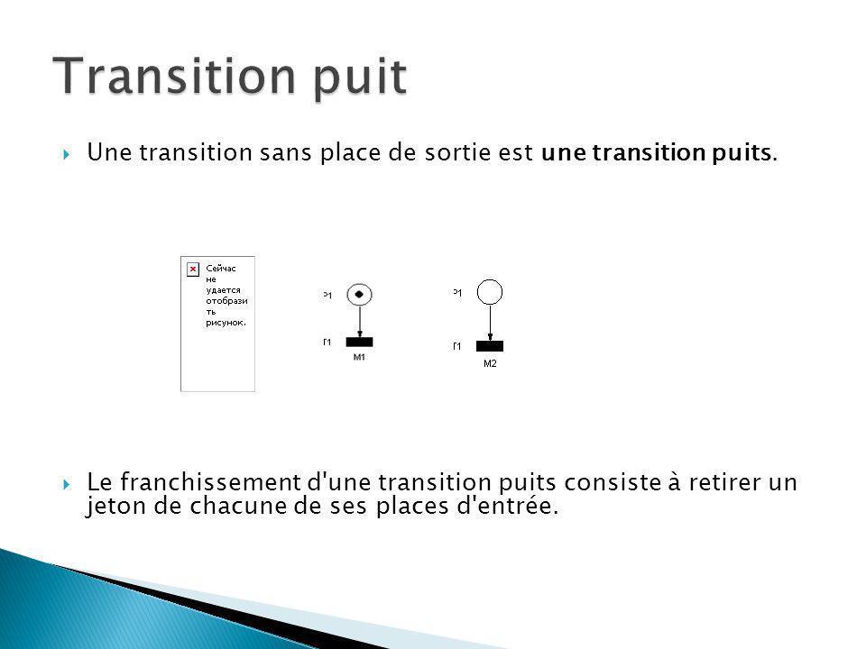Transition puit Une transition sans place de sortie est une transition puits.