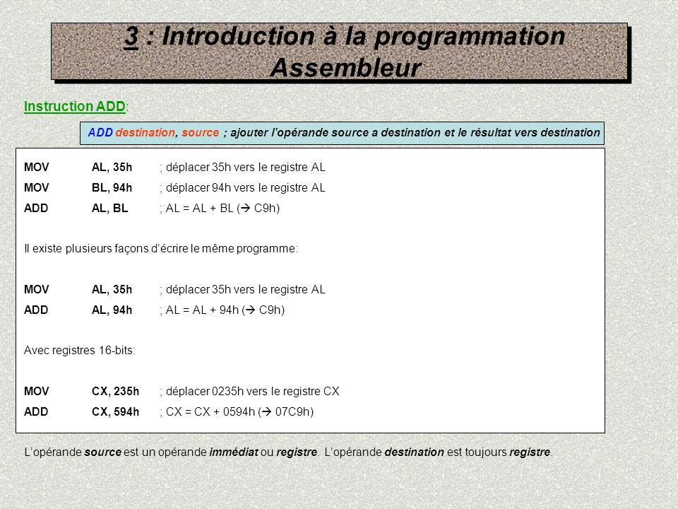 3 : Introduction à la programmation Assembleur