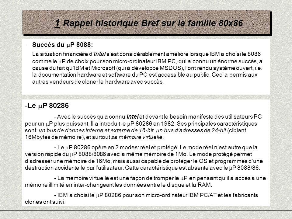 1 Rappel historique Bref sur la famille 80x86