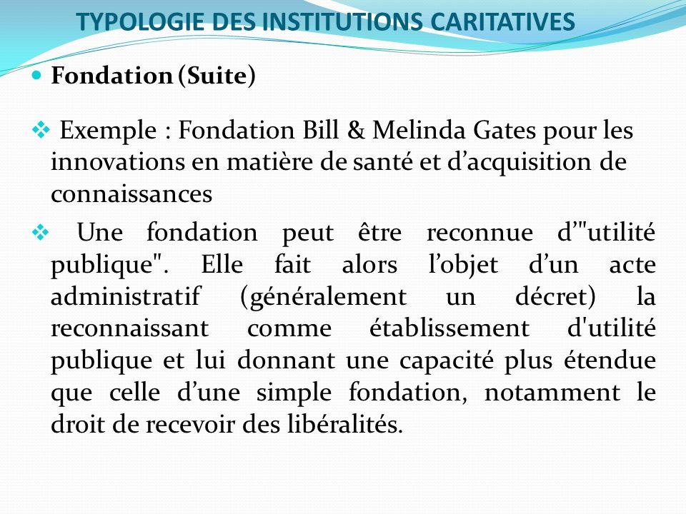 TYPOLOGIE DES INSTITUTIONS CARITATIVES