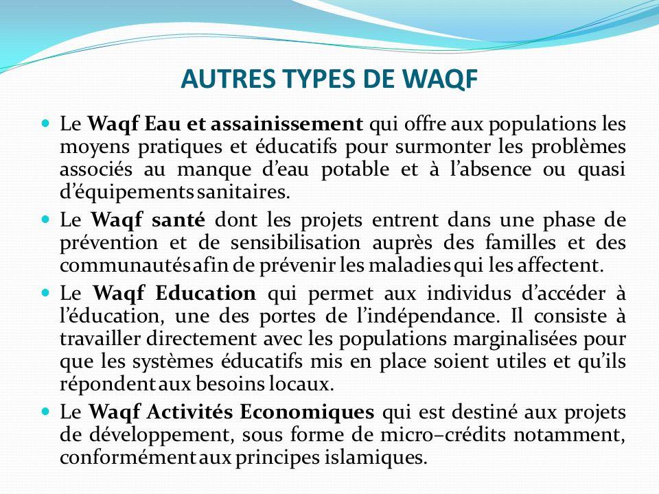 AUTRES TYPES DE WAQF