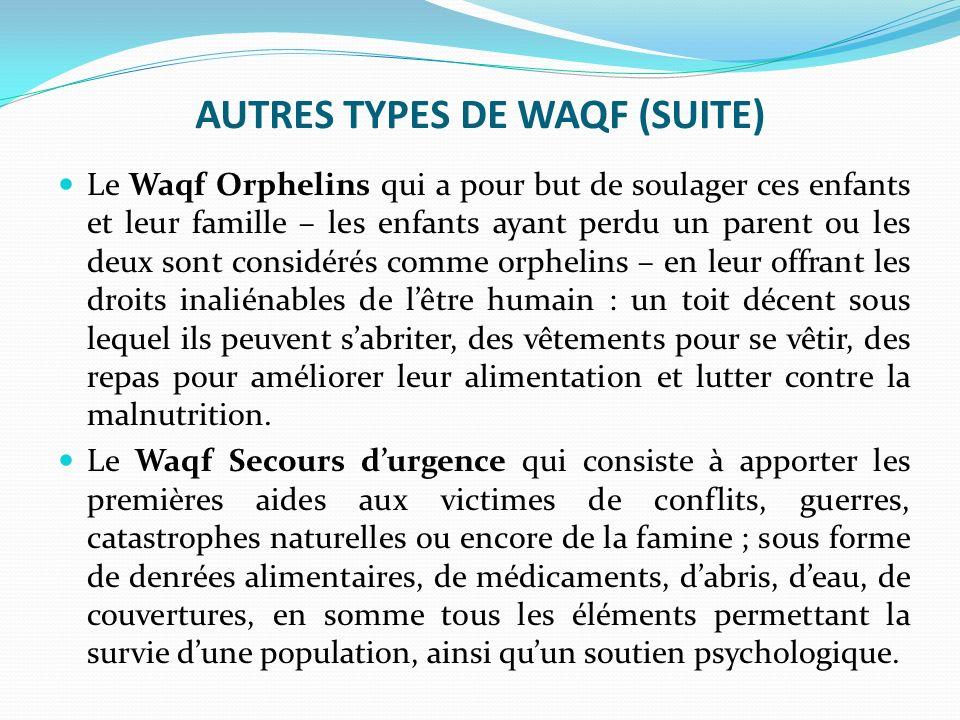 AUTRES TYPES DE WAQF (SUITE)
