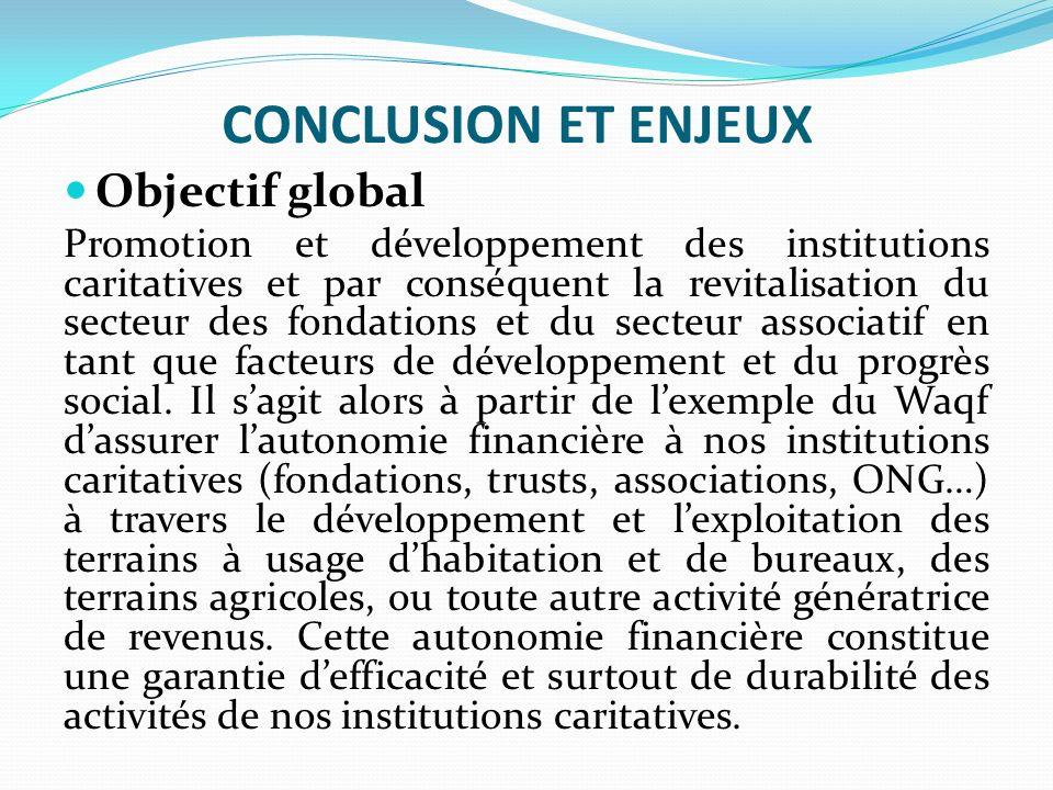 CONCLUSION ET ENJEUX Objectif global