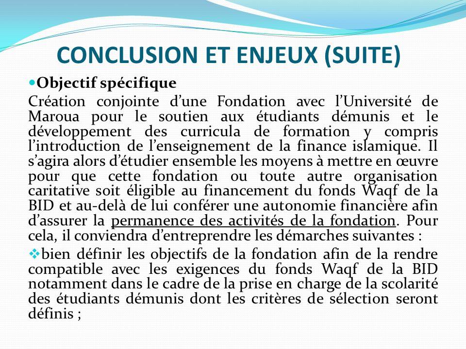 CONCLUSION ET ENJEUX (SUITE)