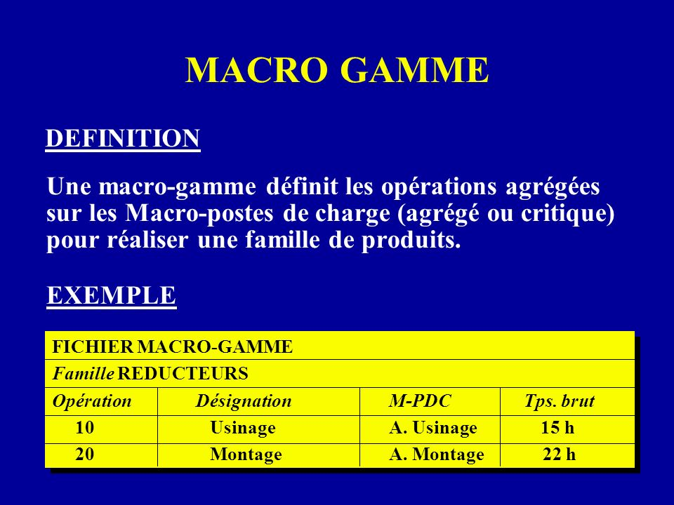 MACRO GAMME DEFINITION