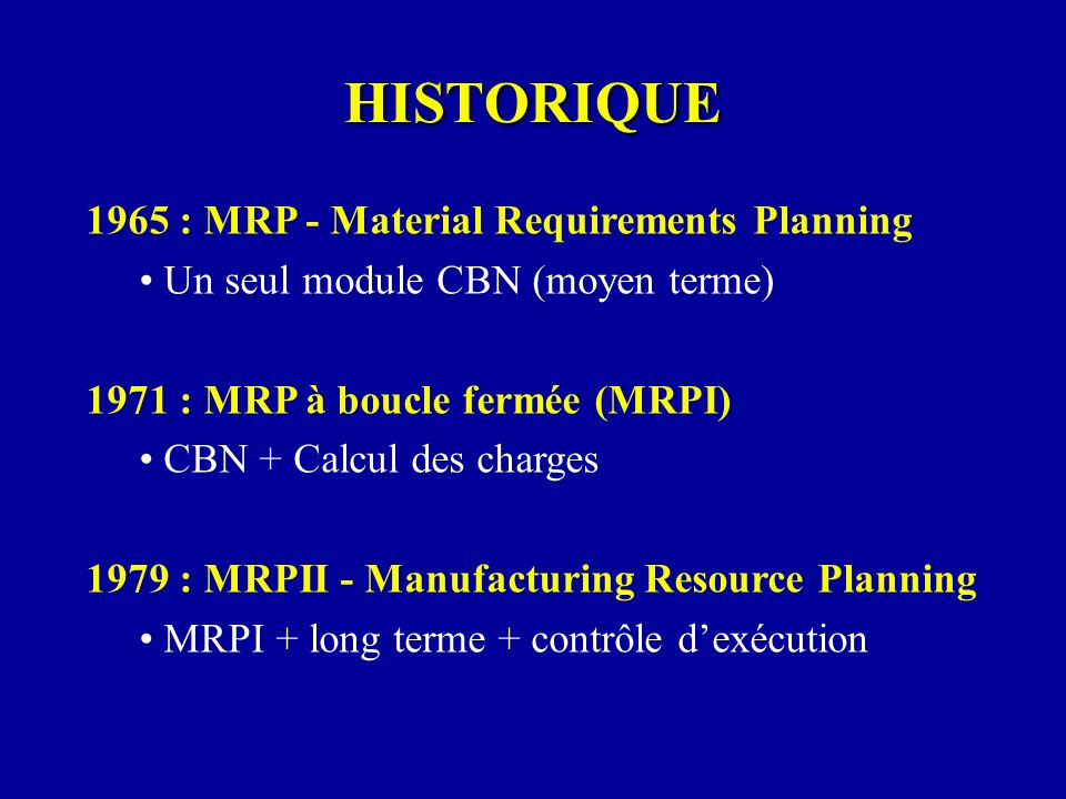 HISTORIQUE 1965 : MRP - Material Requirements Planning