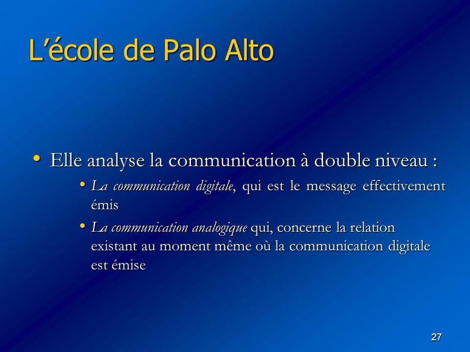 L'école de Palo Alto Elle analyse la communication à double niveau :