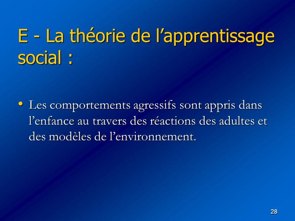 E - La théorie de l'apprentissage social :