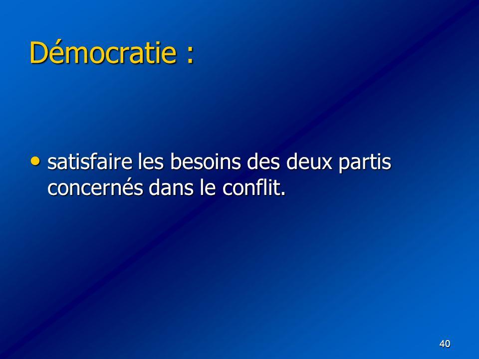 Démocratie : satisfaire les besoins des deux partis concernés dans le conflit.