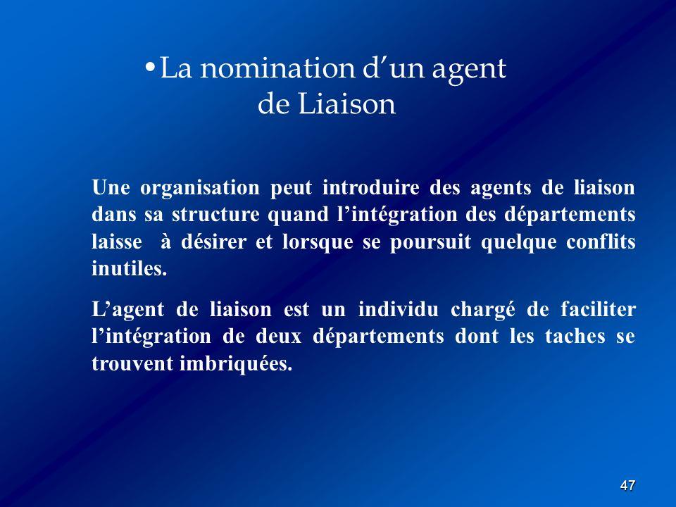 La nomination d'un agent