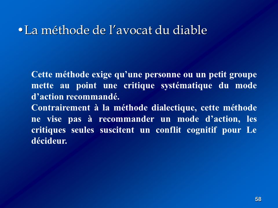 La méthode de l'avocat du diable