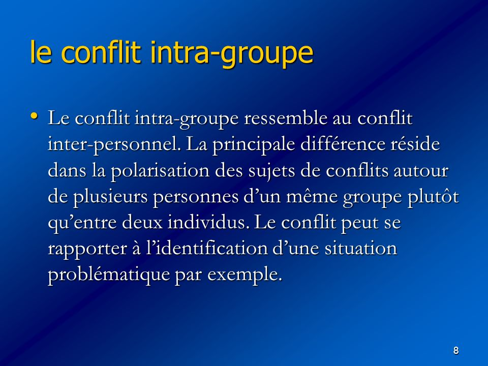 le conflit intra-groupe