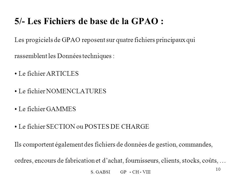 5/- Les Fichiers de base de la GPAO : Les progiciels de GPAO reposent sur quatre fichiers principaux qui rassemblent les Données techniques :