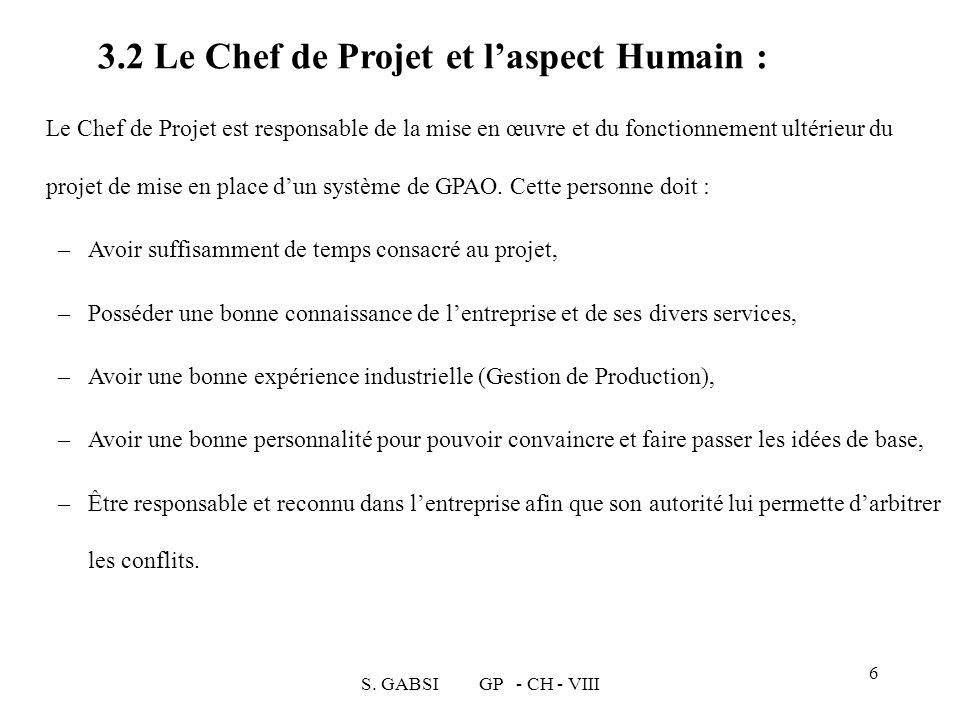 3.2 Le Chef de Projet et l'aspect Humain :
