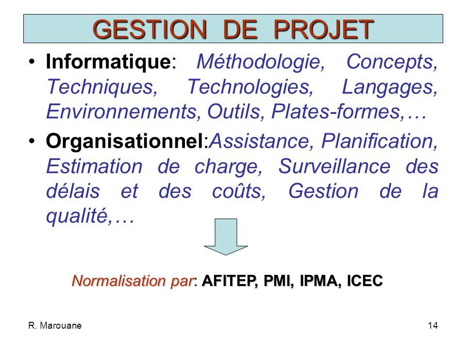 GESTION DE PROJETInformatique: Méthodologie, Concepts, Techniques, Technologies, Langages, Environnements, Outils, Plates-formes,…