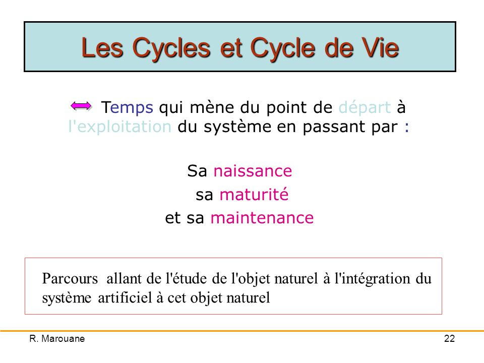 Les Cycles et Cycle de Vie