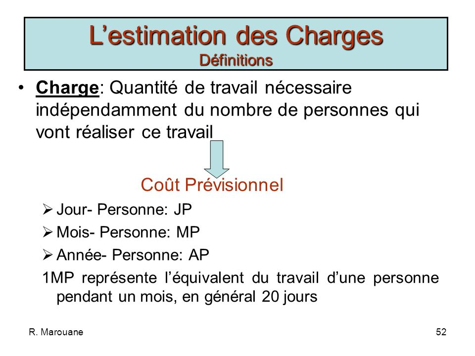 L'estimation des Charges Définitions