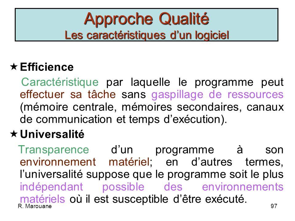 Approche Qualité Les caractéristiques d'un logiciel