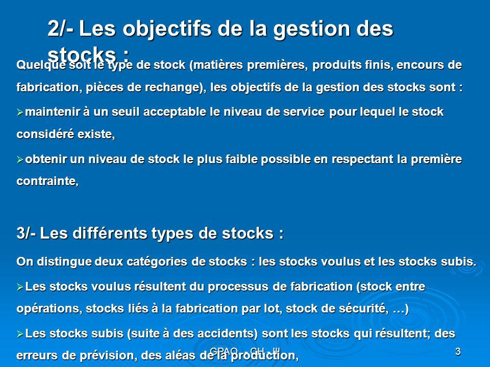 2/- Les objectifs de la gestion des stocks :