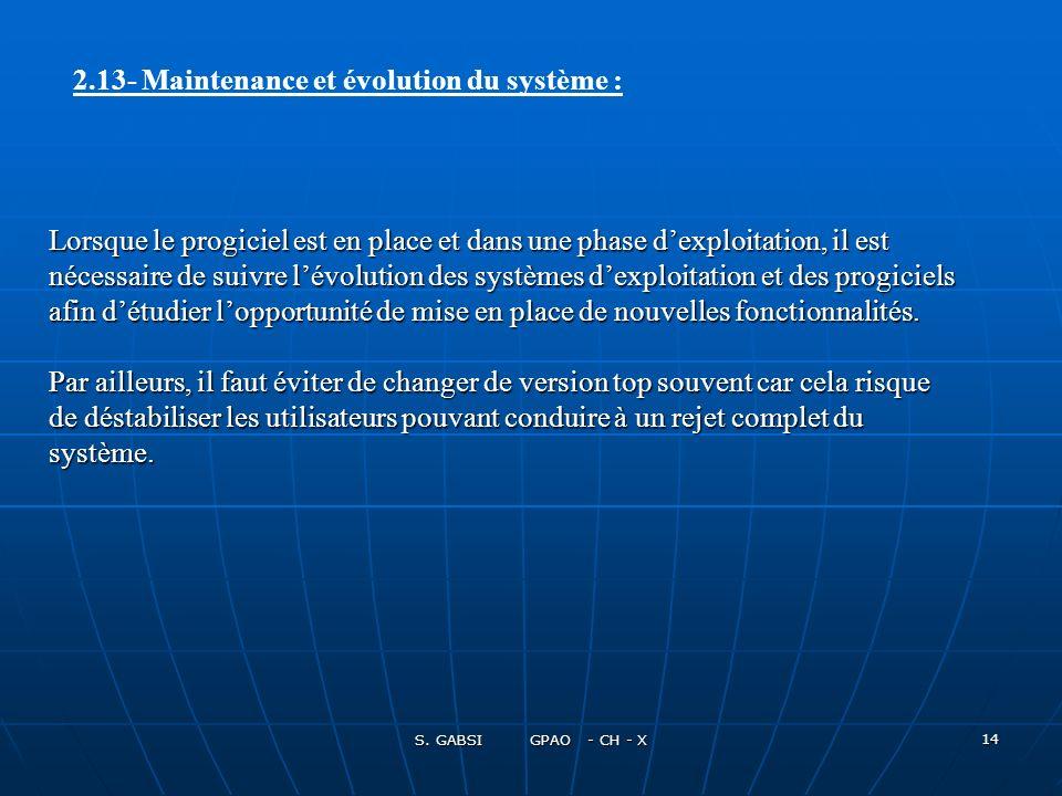 2.13- Maintenance et évolution du système :