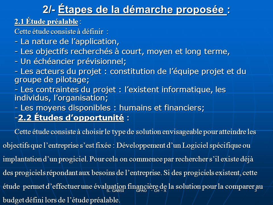 2/- Étapes de la démarche proposée :