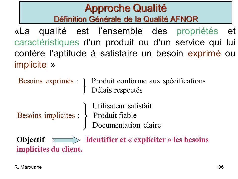 Approche Qualité Définition Générale de la Qualité AFNOR