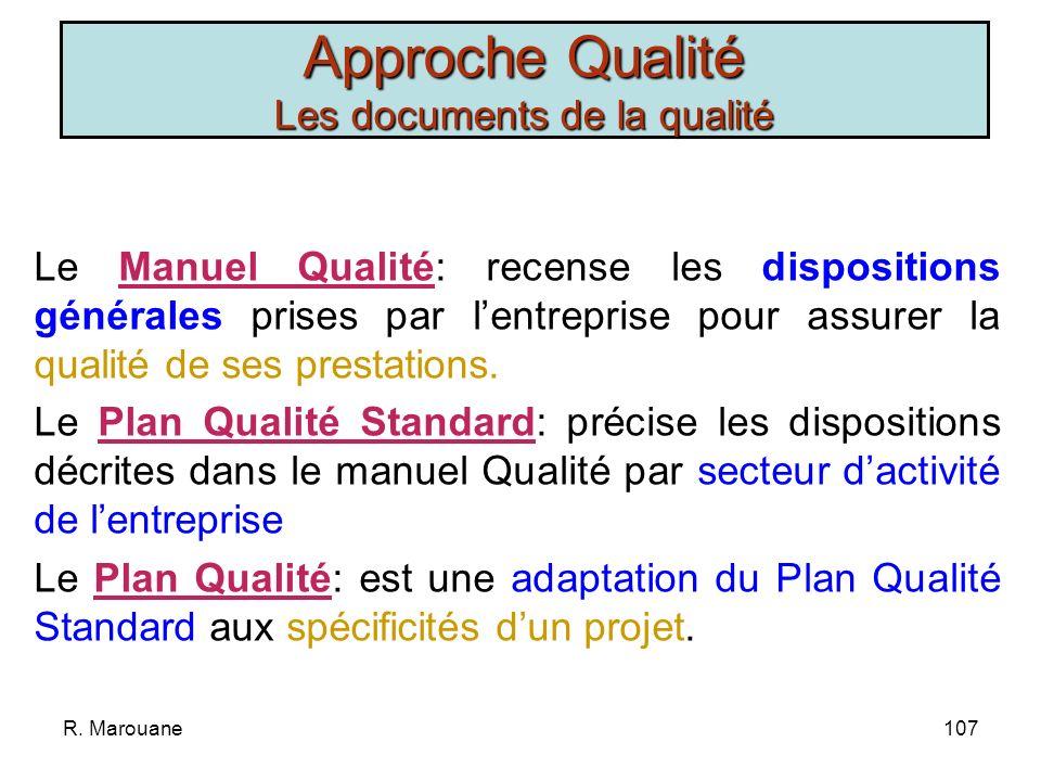Approche Qualité Les documents de la qualité