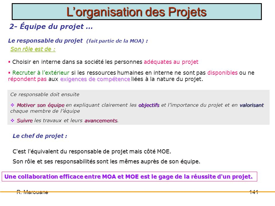 Le responsable du projet (fait partie de la MOA) :