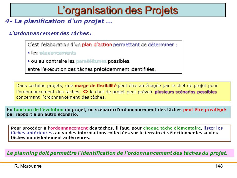 4- La planification d'un projet … L'Ordonnancement des Tâches :